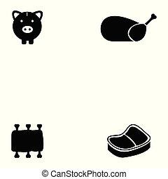 set, carne, icona