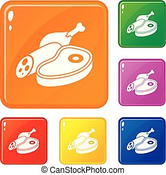 set, carne, icone, colore cibo, vettore