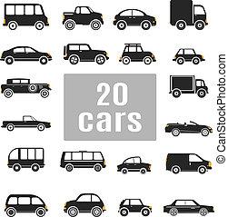 set, cars., icone
