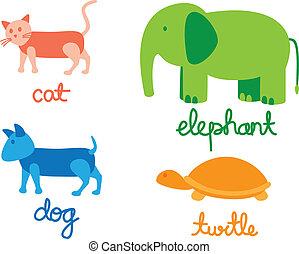 set, cartone animato, animale