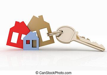 set, casa, simbolo, chiave