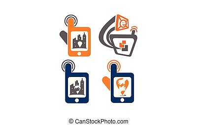 set, centro, mano, telefono, posizione, soluzioni