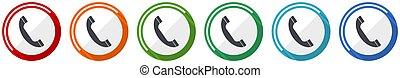 set, chiamata, icona, contatto, vettore, webdesign, domande, telefono mobile, illustrazione, disegno, opzioni, 6, colori, appartamento