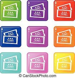set, cinema, colorare, icone, collezione, 9, biglietto