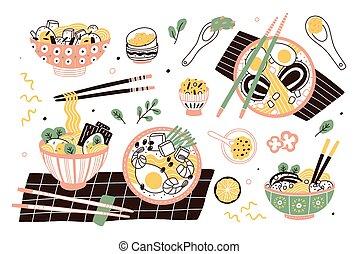 set, cinese, giapponese, ciotole, saporito, asiatico, delizioso, bastoncini., spezzatino, tagliatelle, appartamento, broth., fascio, cibo., collezione, ramen, cartone animato, illustration., pasto, tradizionale, minestra, vettore, o