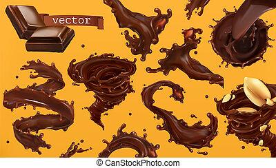 set, cioccolato, realistico, vettore, splash., icona, 3d