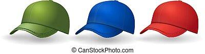 set, collezione, cappucci, realistico, cappello baseball