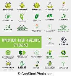set, collezione, elemento, ambiente, scaricare, logotipo, agricoltura, logotipo, icona