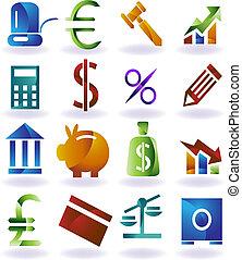 set, colorare, icona, bancario