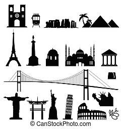 set, colorare, illustrazione, internazionale, famoso, nero, monumento, mondo