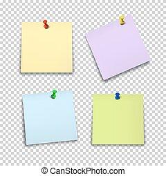 set, colorare, isolato, fondo., carta, fogli, piolini, trasparente