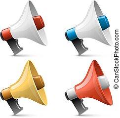 set, colorare, isolato, segno, fondo., vettore, lucido, bianco, megafono