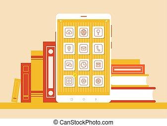 set, colorare, manifesto, moderno, smartphone, libri