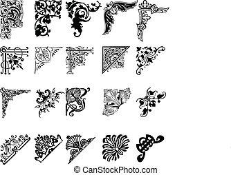 set, colorare, venti, corners., uno, elementi, design.