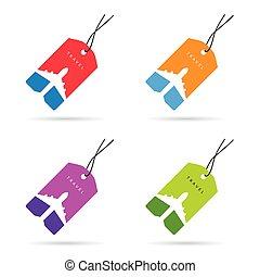 set, colorare, viaggiare, illustrazione, etichetta, aeroplano
