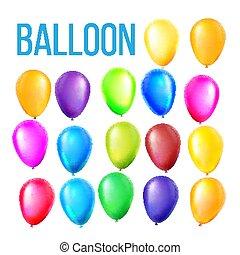 set, colorare, volare, present., object., evento, realistico, elementi, compleanno, illustrazione, vector., vacanza, palloni, rotondo, decoration.
