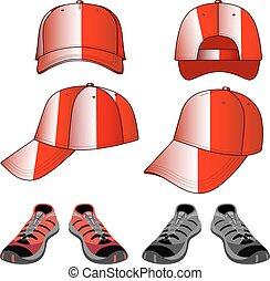 set, colorato, &, berretto, scarpe tennis, baseball