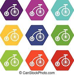 set, colore bicicletta, hexahedron, bambini, icona
