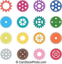 set, colore ingranaggio, illustrazione, vettore, ruote