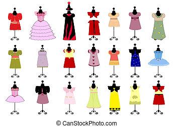 set, colorito, bambini, vestiti