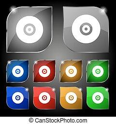 set, colorito, dieci, dvd, segno., glare., cd, bottoni, vettore, o, icona