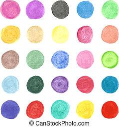 set, colorito, dipinto, mano, acquarello, vettore, circle.