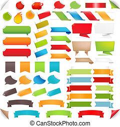 set, colorito, grande, etichette, bolla discorso