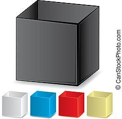 set, colorito, illustrazione, scatole, vettore, vuoto, 3d
