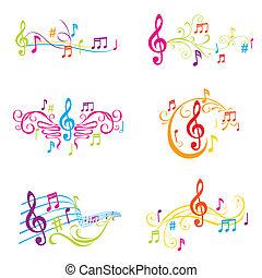 set, colorito, note, -, illustrazione, vettore, musicale