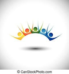 set, colorito, persone, &, eccitato, divertimento, godere, detenere, felice