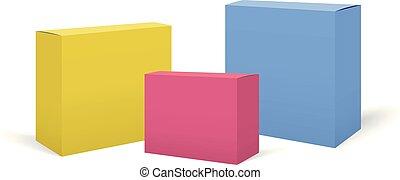 set, colorito, realistico, scatole, vettore, mockups