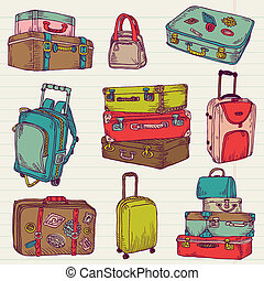 set, colorito, valigie, vendemmia, -, vettore, disegno, album