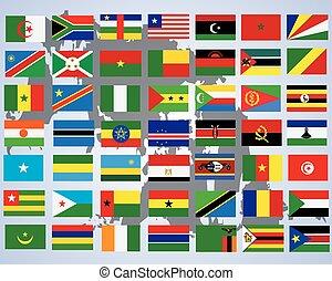 set, completo, sopra, colori, africa-, fondo, bandiere, bianco, originale