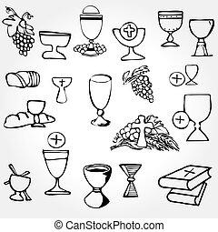 set, comunione, illustrazione