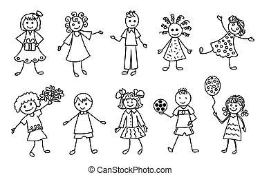 set, contorno, scarabocchiare, mano, nero, disegno, bambini