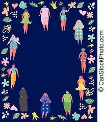 set, cornice, fiori, donne, circondato, posto, tuo, text., differente