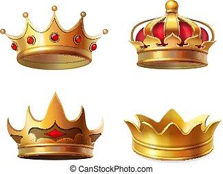 set, corona reale, illustrazione, realistico, vettore, icona