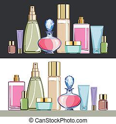 set, cosmetica, cura bellezza