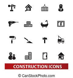set, costruzione, vettore, icone