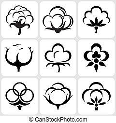 set, cotone, icona