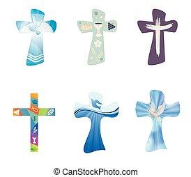 set, cristiano, crosses., moderno, isolato, collezione, croce, simboli, vettore, cristianesimo, religioso, signs.