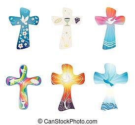 set, cristiano, crosses., moderno, isolato, collezione, croce, simboli, vettore, religioso, christianity., signs.