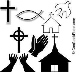 set, cristiano, icone, simbolo, altro, chiesa