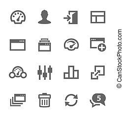 set., cruscotto, icone