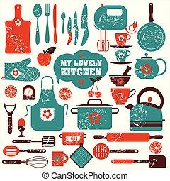 set, cucina, icone