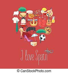set, cultura, icone, cibo, limiti, vettore, musica spagnola