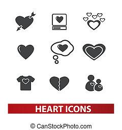 set, cuore, vettore, icone