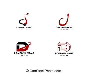 set, d, iniziale, disegno, lettera, logotipo, sagoma