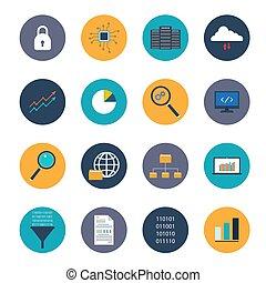 set, dati, analisi, icone