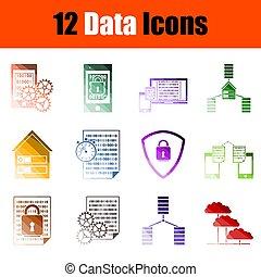 set, dati, icona